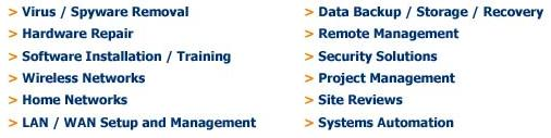Here are just some of the services we provide.  Click for a full listing.